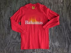 Vintage 80s 90s Hi-Cru by Stedman Bahamas T-Shirt Red Long Sleeve Size M #Stedman #GraphicTee
