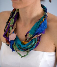 Boho silk necklace ,silk colorful necklace, multicolored scarf from pure silk sari ribbon, spring gift for her. A unique necklace that you can wear all day. Try it with a simple t-shirt or a black dress and it will give a different look. It is very soft and lightweight. Made from 100%