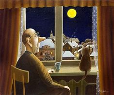 Valentin Gubarev / Валентин Губарев is a member of the Union of Artists and has been included in a number of auctions at Christie's and Sotheby's. Art And Illustration, Illustrations And Posters, Russian Folk, Russian Art, Funny Paintings, Naive Art, Henri Matisse, Conte, Cat Art