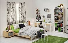 College Dorm Room Ideas Green Carpet - Home Design and Decoration College Dorm Decorations, College Dorm Rooms, Uni Dorm, College Bedding, Teen Apartment, Apartment Ideas, Dorm Life, College Life, Hunter College