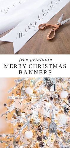 These free printable Merry Christmas banners with an elegant Calligraphy font are a beautiful accent decoration for Christmas trees, mantels and holiday wreaths. Merry Christmas Sign Printable, Merry Christmas Banner, Christmas Wood, Christmas Signs, Christmas Printables, Christmas Holidays, Christmas Ornaments, Christmas 2019, Christmas Ideas