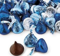 Hersheys kisses- shades of blue and silver