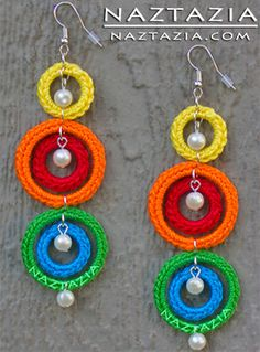 Crochet Earrings - how beautiful are these???? loving Mrs Naztazia her work is amazing!