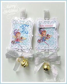 Sementes de Papel, ATC, Alicia Bel, Christmas fairy, Spellbinders labels eight, Christmas