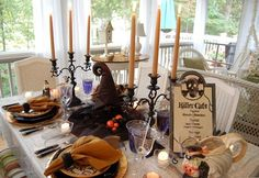 Halloween Tablescape: Dining in the Killer Cafe... Loved this blog's tabescapes...all kinds...