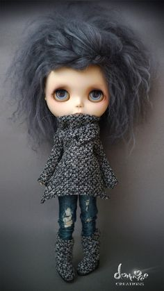 """Blythe #doll goes Grunge Street Style in Winter Grey Mohair & Distressed Jeans"""