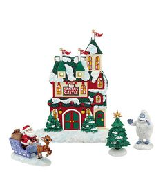 Another great find on #zulily! Department 56 Rudolph the Red-Nosed Reindeer Santa's Castle Figurine Set #zulilyfinds