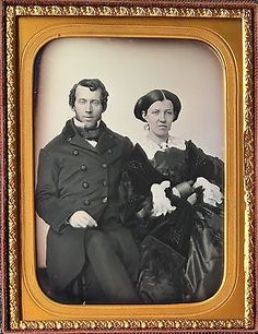 SAILOR + WIFE ATTRACTIVE YOUNG COUPLE PRETTY WOMAN 1/4 PLATE DAGUERREOTYPE D560