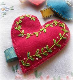Heart Felt Token with Secret Message Fuschia by murgatroydandbean, £20.00