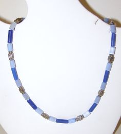 Jewelry Necklace Catseye Silver Blue Mens by IntricateWireDesigns, $8.00