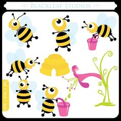 Springs Baby Busy Bees ORIGINAL digital clip art illustration set - bumble bee, honey bee, humming - Personal and Commercial Use Clip Art. $5.00, via Etsy.