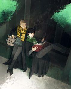 Watson as hufflepuff and Sherlock is a slytherin