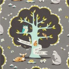 gray Michael Miller animal fabric with forest animals USA #owl