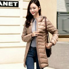 The new thin hooded down jacket Girls long paragraph Korean Slim thin section large size and lightweight jacket