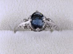 Authentic (Not Repro) 14k white gold Edwardian Art Deco oval .83 ct. sapphire solitaire filigree ring
