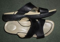 Womens Black & Cream White DANSKO Comfort Slides Sandals Shoes, Size 7.5, GUC! #DANSKO #SlipOnOpenToeSlidesSandalsShoes #Casual