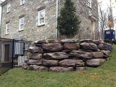 Boulder Stone Retaining wall in McLean, VA