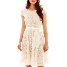 fec54cc6894 Danny  amp  Nicole® Lace Dress with Sash Tie - jcpenney Beige Lace Dresses