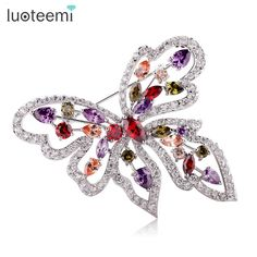 LUOTEEMI New Fashion Women Wedding Brooch Luxury Colorful Zircon Butterfly Brooch Pins for Wedding Party Gift White Gold Color
