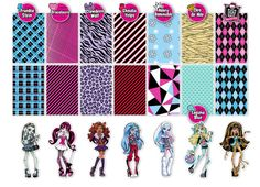 002 Monster High inspired digital paper pack for scrapbooking, albums, cards and crafts