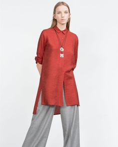 TUNIC WITH SHIRT-STYLE COLLAR-Long-Tops-WOMAN   ZARA United States