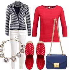 Mood marinaro in un outfit easy chic. Jeans bianco, maglia ricamata rossa con manica 3/4 , blazer marinier. La collana semipreziosa e la borsa a spalla per un tocco classy, le espadrillas a pois sdrammatizzano e conferiscono uno stile più rilassato anche in città.
