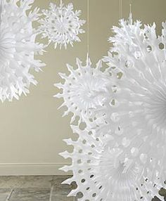 Big white paper snowflakes