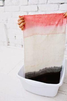 DIY Mantel individual teñido Dip Dye.