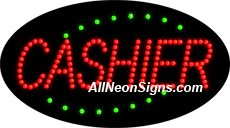 """Animated Cashier LED Sign-ANSAR24093  15""""x27""""x1""""  Animated  8lbs  Indoor use only  Low energy cost: Uses ONLY 10 Watts of power  Expected to last at least 100,000 hrs  Cool and safe to touch, low voltage operation  High visibility, even in daylight  Easy to clean, Easy to install, Slim & Light Weight  Maintenance FREE  1 YEAR Warranty."""