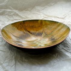 dish - scrolled brown and white over yellow enamel £15.00