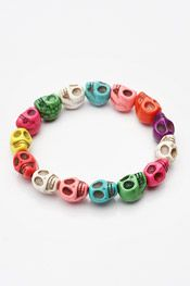 Multi-Colored Stretch Skull Bracelet
