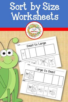 Let your little ones color, cut, and paste to learn sizes small to large and large to small with these worksheets!
