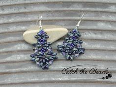 Blue Sapphire and Green Beaded Earrings