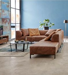 Hoekbank Marshall - Home decor - Home Living Room, Interior Design Living Room, Living Room Designs, Living Room Decor, Salons Cosy, Piece A Vivre, Home And Deco, Room Colors, Sectional Sofa
