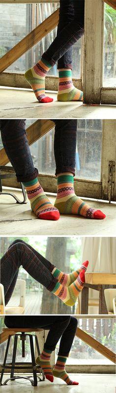 a410b5cd176 Men Women Couple Retro Cotton Striped Socks Design Multi-Color Fashion  Casual Middle Tube Socks is hot-sale