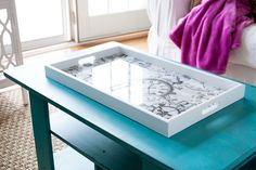 DIY Serving Tray Makeover COOL ENVIROTEX LITE PRODUCT THAT MAKES IT LOOK LIKE GLASS!