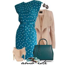 Blue Polka Wrap by amo-iste on Polyvore featuring Oscar de la Renta, Oasis, Chinese Laundry and Fendi