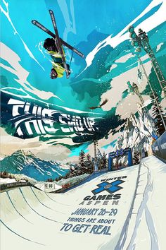 ESPN Winter X Games Illustrations and Motion Graphics by Golden Wolf