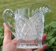 classic EAPG Indiana Glass Flower Medallion creamer #158 clear from 1916