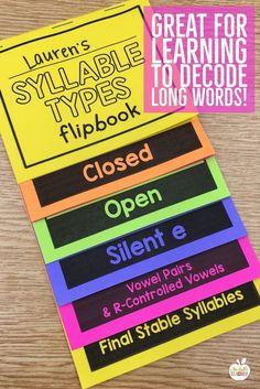 Multisyllabic Words - Decoding using Syllable Types Phonics Rules, Teaching Phonics, Phonics Activities, Teaching Writing, Teaching Tips, Reading Activities, Alpha Phonics, Phonics Lessons, Reading Resources