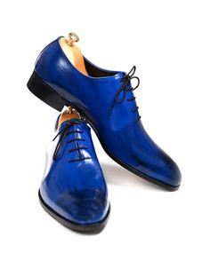 Handmade Blue Patina Men Shoes – Ustabas Shoes
