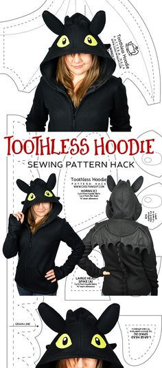 I have a new pattern hack on my main site today that might help people out for Halloween :) WIth it you can make a Toothless hoodie – either out of my cosplay hoodie pattern or your own. Toothless Pattern, Toothless Hoodie, Toothless Costume, Dragon Hoodie, Toothless Dragon, Sewing Hacks, Sewing Tutorials, Sewing Crafts, Sewing Tips