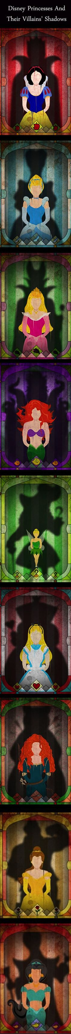 9 Disney Heroes Who Are Haunted By Their Villains' Shadows | Disney princesses and their villain's shadows Snow white, Cinderella, The little mermaid, tinkerbell piter pan, Alice in wonderland, brave Merida, Beauty and the beast, aladdin jasmine