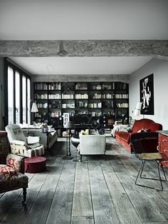Ideal palette: gray wood and splashes of red