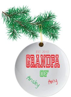 Personalized Christmas Ornaments for Grandpa with by TheCuteTee, $9.25