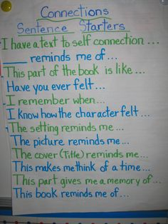 TEXT to SELF Making Connections - maybe something like this could lead to more direct connections. I swear my students can connect two very different things just to talk about what they did over the weekend during reading. Teaching Language Arts, Classroom Language, Text To Text Connections, Making Connections, Too Cool For School, Middle School, High School, School Stuff, School Fun