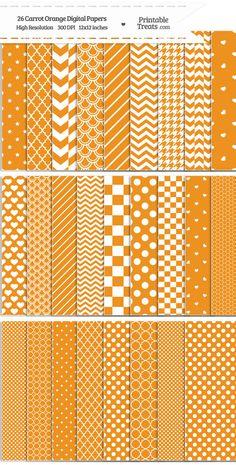 26 Carrot Orange Digital Paper Set Download from PrintableTreats.com