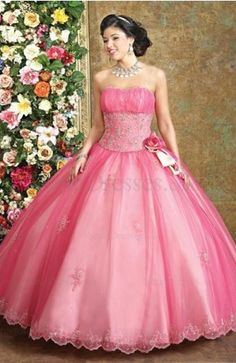 Modest Ball Gown Sleeveless Organza Strapless Backless Sweet 16 Dress-1
