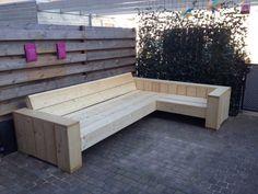 bouwtekening hoekbank steigerhout