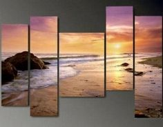 Amazon.com: 100% Hand Painted Oil Painting on Canvas Modern Art Abstract Art Wall Art Landscape Painting Free Shipping Hawaii Beach Sunset Large Painting 5 Piece Canvas Art Stretched Ready to Hang: Home & Kitchen